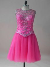 Hot Pink A-line Scoop Sleeveless Tulle Mini Length Lace Up Beading Homecoming Party Dress