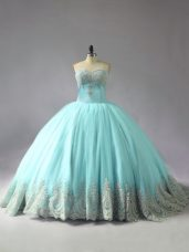 Customized Blue Lace Up 15 Quinceanera Dress Appliques Sleeveless Court Train