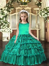 Elegant Scoop Sleeveless Evening Gowns Floor Length Ruffled Layers Turquoise