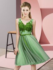 Tulle V-neck Sleeveless Lace Up Appliques Court Dresses for Sweet 16 in Apple Green