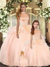 Floor Length Ball Gowns Sleeveless Peach Quinceanera Gowns Backless