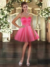 Tulle Sleeveless Mini Length Teens Party Dress and Belt