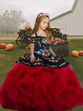 Lovely Red Sleeveless Embroidery and Ruffles Floor Length Little Girls Pageant Dress Wholesale