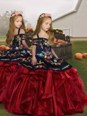 New Arrival Sleeveless Lace Up Floor Length Embroidery and Ruffles Little Girl Pageant Dress