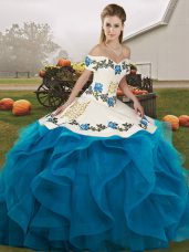 Sleeveless Floor Length Embroidery and Ruffles Lace Up Quinceanera Dresses with Blue And White