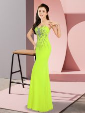 Yellow Green Sweetheart Neckline Beading Evening Dress Sleeveless Zipper
