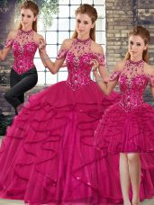 Amazing Fuchsia Halter Top Neckline Beading and Ruffles Quince Ball Gowns Sleeveless Lace Up
