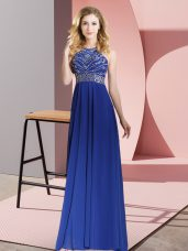 Customized Floor Length Royal Blue Evening Dress Chiffon Sleeveless Beading