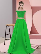 Green Off The Shoulder Backless Beading Prom Evening Gown Sweep Train Sleeveless