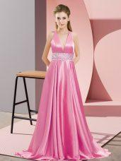 Great Rose Pink Backless V-neck Beading Evening Dress Elastic Woven Satin Sleeveless Brush Train