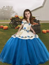 Nice Blue Pageant Gowns For Girls For with Embroidery Straps Sleeveless Lace Up