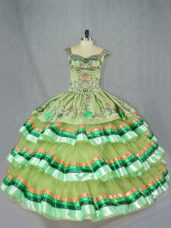 Olive Green Ball Gowns Organza Straps Sleeveless Embroidery and Ruffled Layers Floor Length Lace Up 15th Birthday Dress
