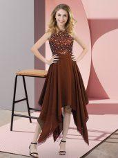 Adorable High-neck Sleeveless Zipper Prom Dress Brown Chiffon