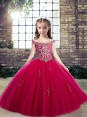 Tulle Scoop Sleeveless Lace Up Beading and Appliques Girls Pageant Dresses in Hot Pink