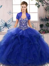 Royal Blue Off The Shoulder Neckline Beading and Ruffles Vestidos de Quinceanera Sleeveless Lace Up