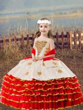 Best Sleeveless Organza Floor Length Lace Up Girls Pageant Dresses in Red with Beading and Embroidery and Ruffled Layers