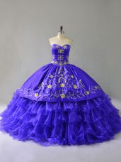 New Arrival Blue Lace Up Sweetheart Embroidery and Ruffled Layers Sweet 16 Dress Organza Sleeveless