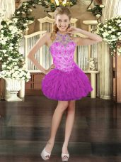 Ball Gowns Prom Gown Fuchsia Halter Top Tulle Sleeveless Mini Length Lace Up