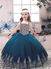 Floor Length Ball Gowns Sleeveless Teal Juniors Party Dress Lace Up