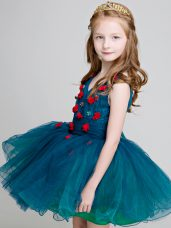 Wonderful V-neck Sleeveless Zipper Flower Girl Dresses Teal Organza