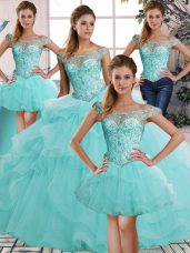 Fitting Sleeveless Floor Length Beading and Ruffles Lace Up Quinceanera Dresses with Aqua Blue