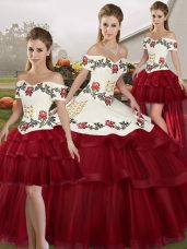 New Style Wine Red Off The Shoulder Lace Up Embroidery and Ruffled Layers Quince Ball Gowns Brush Train Sleeveless