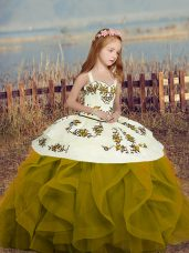 Olive Green Lace Up Kids Pageant Dress Embroidery and Ruffles Sleeveless Floor Length