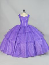 Top Selling Floor Length Lace Up 15 Quinceanera Dress Lavender for Sweet 16 and Quinceanera with Beading and Ruffled Layers