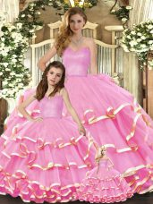Enchanting Rose Pink Sweetheart Neckline Ruffled Layers Sweet 16 Quinceanera Dress Sleeveless Lace Up