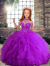Perfect Ball Gowns Child Pageant Dress Purple Straps Tulle Sleeveless Floor Length Lace Up