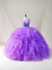 Beading and Ruffles Vestidos de Quinceanera Purple Lace Up Sleeveless Floor Length