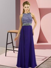 Dazzling Scoop Sleeveless Prom Party Dress Floor Length Beading Purple Chiffon