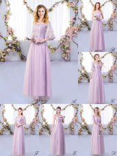 Lavender Empire Lace and Belt Wedding Guest Dresses Side Zipper Tulle Half Sleeves Floor Length
