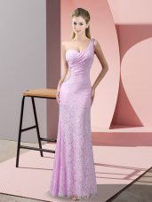 Dazzling Lace One Shoulder Sleeveless Criss Cross Beading and Lace Dress for Prom in Lilac