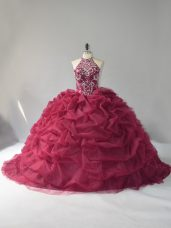Burgundy Organza Lace Up Quinceanera Gown Sleeveless Court Train Beading and Pick Ups