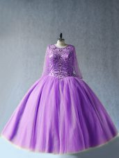 Luxury Long Sleeves Tulle Floor Length Lace Up 15 Quinceanera Dress in Lavender with Beading
