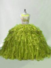 Flirting Olive Green Ball Gown Prom Dress Organza Brush Train Sleeveless Beading and Ruffles