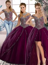 Purple Ball Gown Prom Dress Tulle Brush Train Cap Sleeves Beading