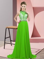 Lovely Backless Prom Party Dress for Prom and Party with Beading Brush Train