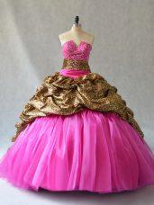 Hot Pink V-neck Neckline Beading and Pick Ups 15th Birthday Dress Sleeveless Lace Up