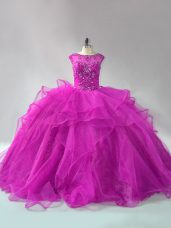 Flirting Fuchsia Quince Ball Gowns Scoop Long Sleeves Brush Train Lace Up