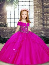 Graceful Ball Gowns Casual Dresses Fuchsia Straps Tulle Sleeveless Floor Length Lace Up