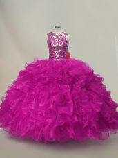 Decent Organza Sleeveless Floor Length Ball Gown Prom Dress and Ruffles and Sequins