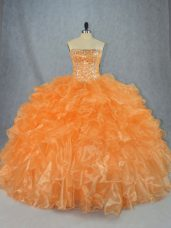 Orange Lace Up Strapless Beading and Ruffles Sweet 16 Dress Organza Sleeveless