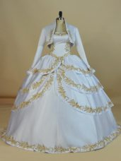 White Ball Gowns Satin Straps Sleeveless Embroidery Floor Length Lace Up Sweet 16 Quinceanera Dress