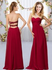 Floor Length Wine Red Wedding Guest Dresses Sweetheart Sleeveless Criss Cross