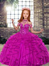 High Class High-neck Sleeveless Lace Up Little Girls Pageant Dress Fuchsia Tulle