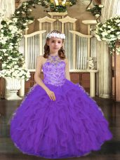 Perfect Purple Sleeveless Beading and Ruffles Floor Length Pageant Gowns For Girls