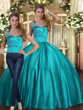 Affordable Teal Quinceanera Gown Military Ball and Sweet 16 and Quinceanera with Ruching Halter Top Sleeveless Lace Up