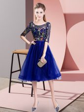 Blue Half Sleeves Tulle Lace Up Bridesmaid Dresses for Wedding Party